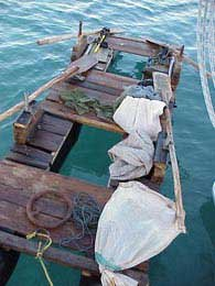 Photo of rafts made from scraps