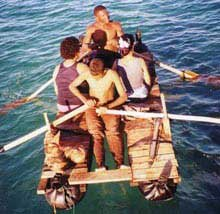 Photo of rowing home on raft