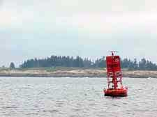 Photo of red Schoodic buoy