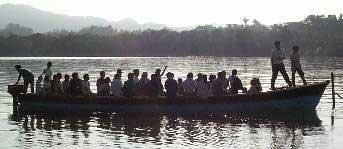 Photo of the morning school bus which brings them from many villages along the river
