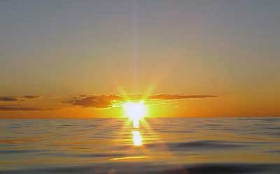 Photo of sunset off the Yucatan Straits