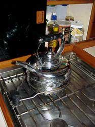 Photo of teapot on stove in galley