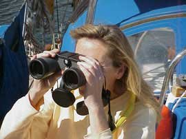 Photo of Bernadette using binoculars