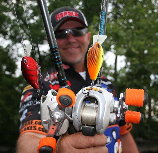 Photo of Dave Lefebre showing two Arashi baits
