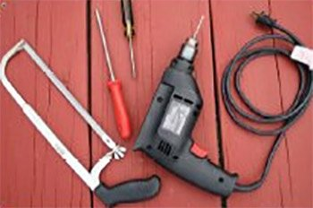 Photo of tools needed for building a livewell