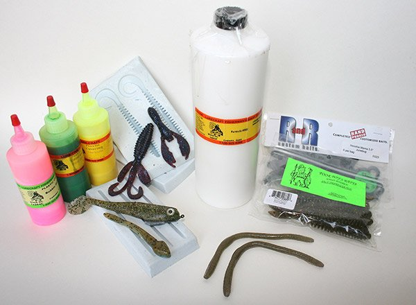 Photo of supplies for creating your own soft plastic lures