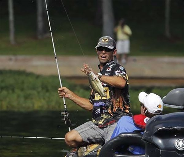 Photo of Mike Iaconelli with a bass on the line