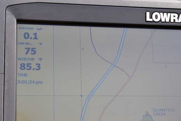 Photo of Lowrance with temperature display