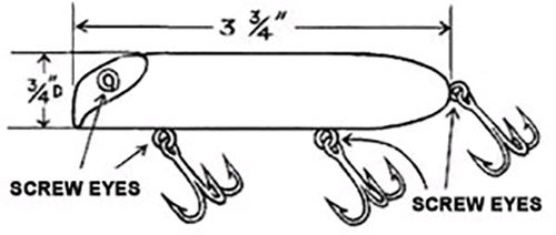 Line drawing of a freshwater wobbler plug