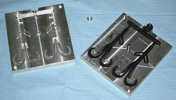Photo of a precision aluminum mold for plastic baits