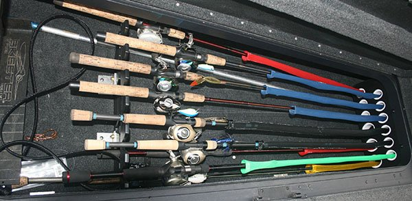 Photo of fishing rods stored on the boat