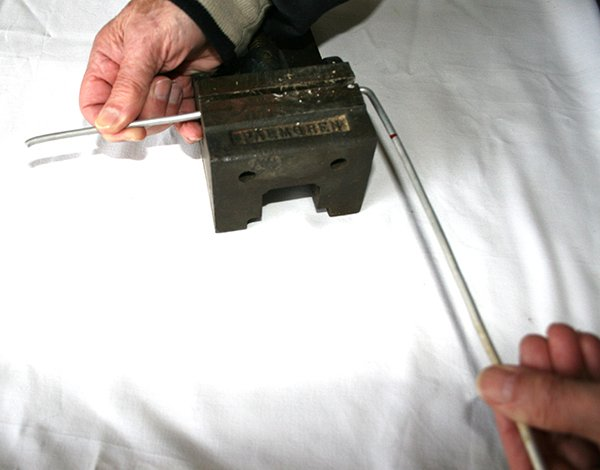 Photo of bending the wire for a plug knocker