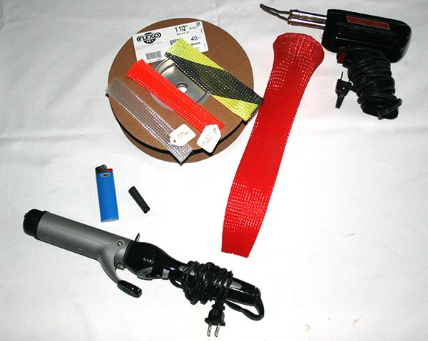Photo of supplies for making your own fishing rod sleeves