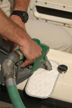 A fuel bib fits over a fuel fill and acts to absorb drips before they hit the water.