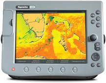 A large display Raymarine chart plotter.