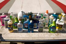 A large selection of boat cleaners.
