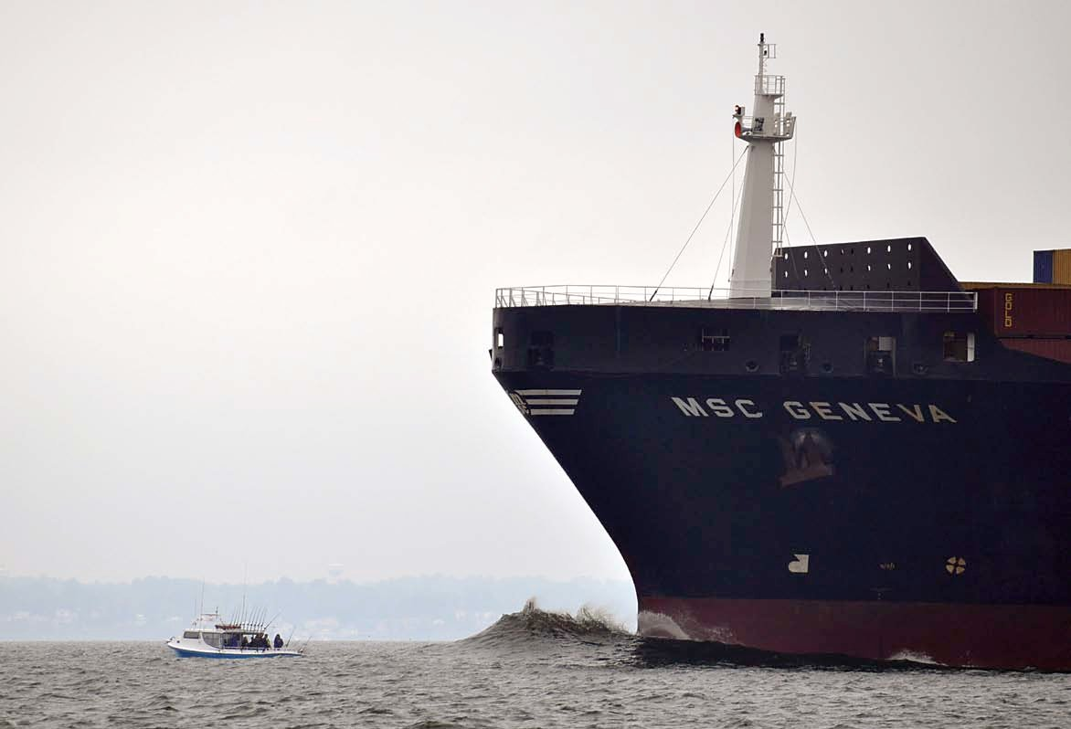 A fishing boat thinks, for some reason, he has right of way over a 600 foot long freighter and remains anchored.