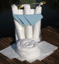 A spill kit for boaters consists of many booms, pads and socks.