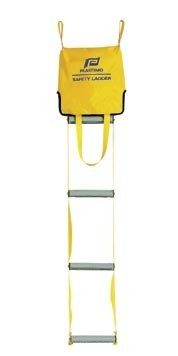 A yellow colored safety ladder for reboarding a vessel.