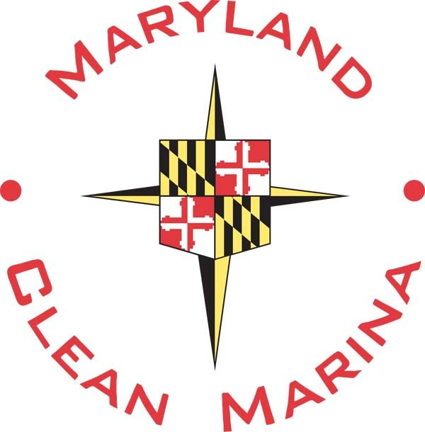 The Maryland clean marina logo includes the state flag over a compass rose