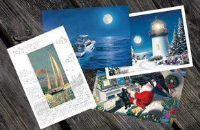 A collage of various nautical holiday cards.