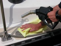 Fuel absorbent pads aid boaters in fuel spill prevention..
