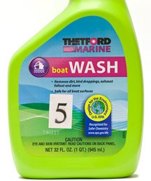 A green container contains boat wash.