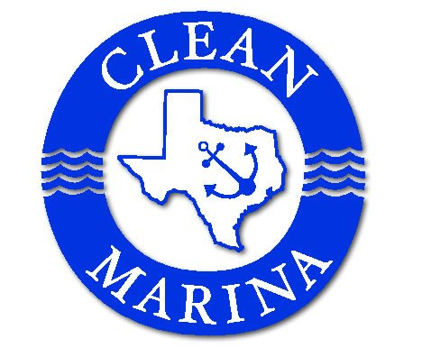 Texas clean marina program logo includes the outline of the state's borders within a thick blue circle which reads Clean Marina.