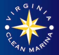 The Virginia clean marina logo includes a gold color compass rose in the center and two white dots on either side of the dark blue background.