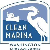 The Washington State clean marina logo includes a sea bird on the right and a small fishing boat on the left with light and dark blue.