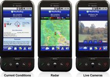 Three images of smart phones display different points of view.