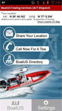 Photo of the BoatUS Towing app