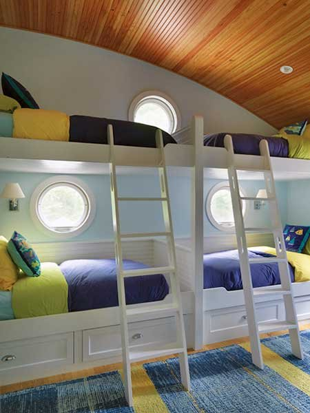 Nautical striped bunk beds