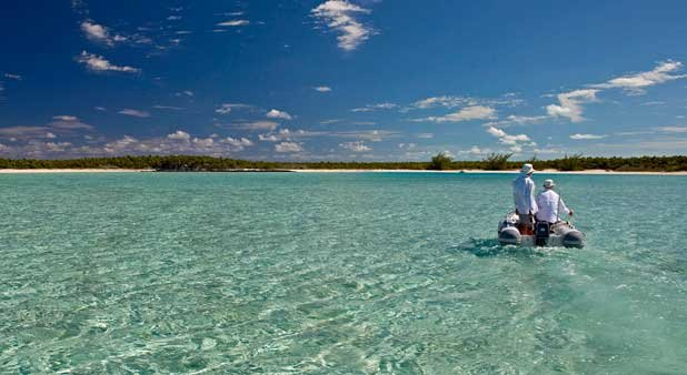 Photo of taking a dinghy ashore in the Bahamas