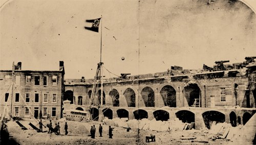 Photo of Fort Sumter under the Confederate Flag