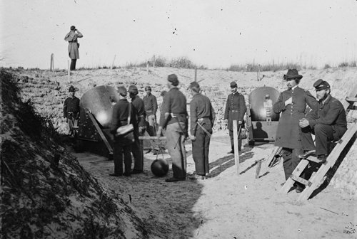 Historic photo of mortars aimed at Fort Sumter