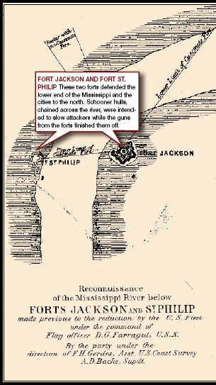 Map of Fort Jackson and Fort St. Philip
