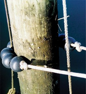 Photo of TideMinders that protect lines from fouling and chafing