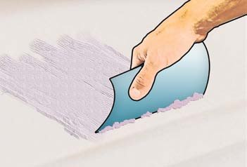 Illustration of applying gelcoat with a plastic spreader