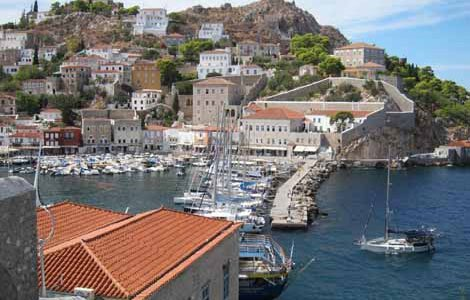 Photo of entering the harbor at Hydra