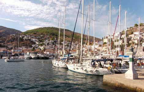 Photo of the harbor in Hydra, an island in the Saronics