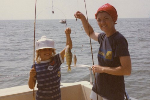 Photo of Edie and her daughter Molly, with some nice perch