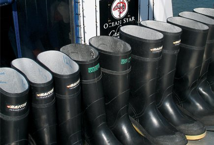 Sea boots lined and ready to go fishing