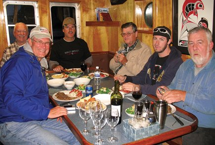 The coho crowd chows down aboard Ocean Star