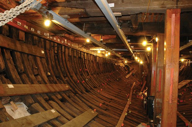 Photo of the interior of the whaler Charles W. Morgan