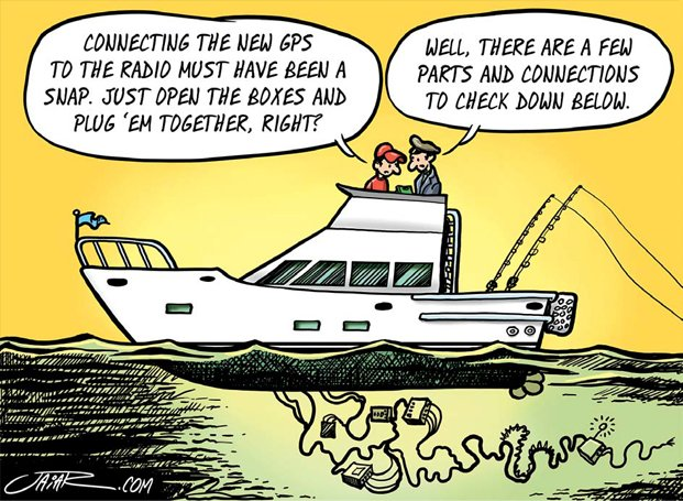 Boaters setting up GPS cartoon