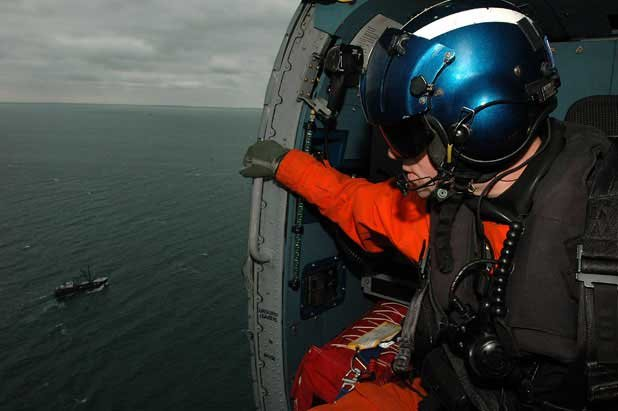 Photo of a Coast Guard helicopter rescue