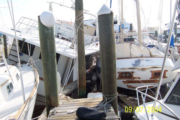 Photo of hurricane damaged boats