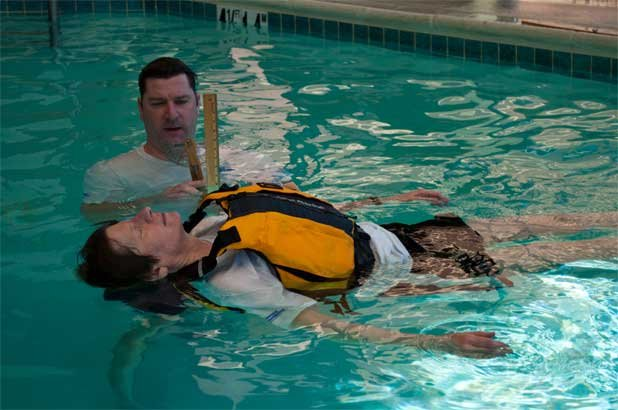 Photo of a Life jacket test with user float on their back