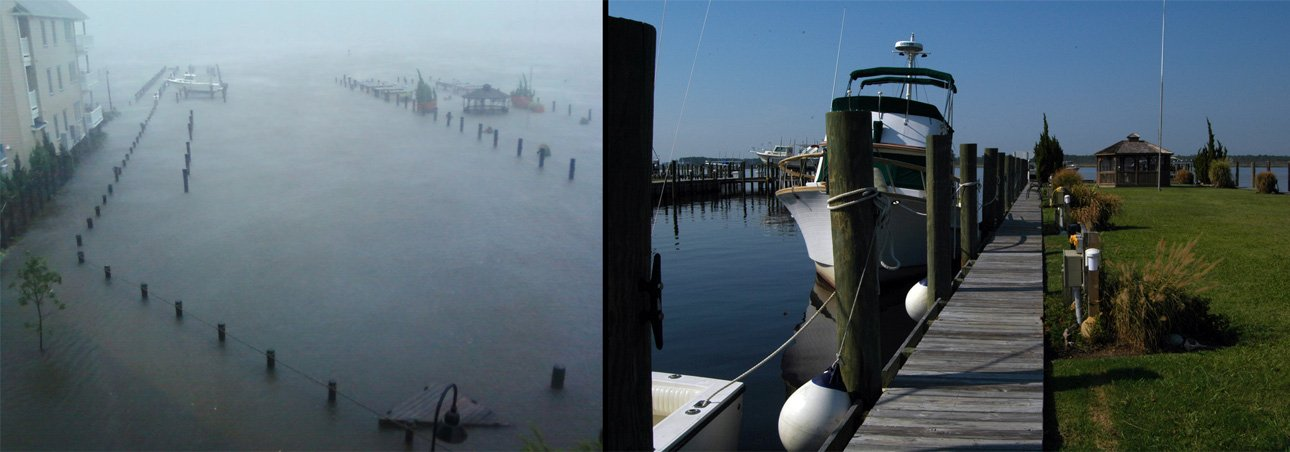 Photo of Belhaven Waterway Marina before and after Hurricane Irene